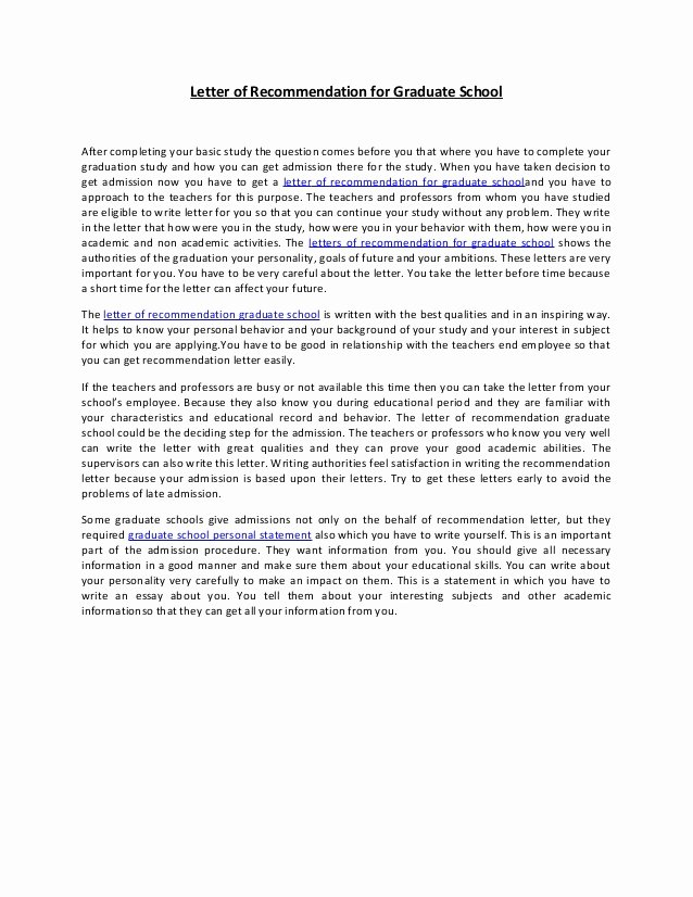 Grad School Letter Of Recommendation Elegant Letter Of Re Mendation for Graduate School 38