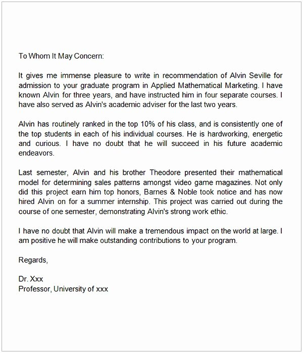 Grad School Letter Of Recommendation Elegant Sample Letter Of Re Mendation for Graduate School From