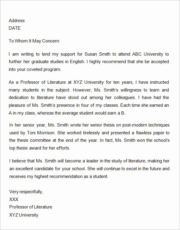 Grad School Letter Of Recommendation Unique Free 45 Sample Letters Of Re Mendation for Graduate