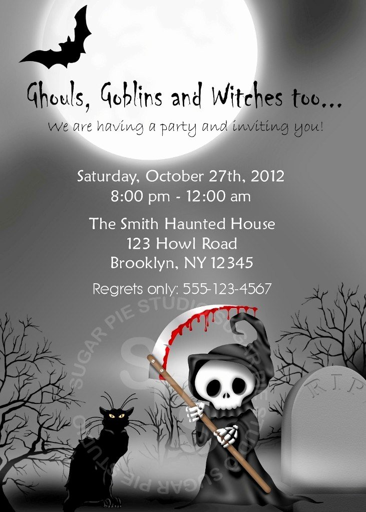 Halloween Birthday Party Invitations Beautiful Printable Halloween Birthday Party Invitation Custom