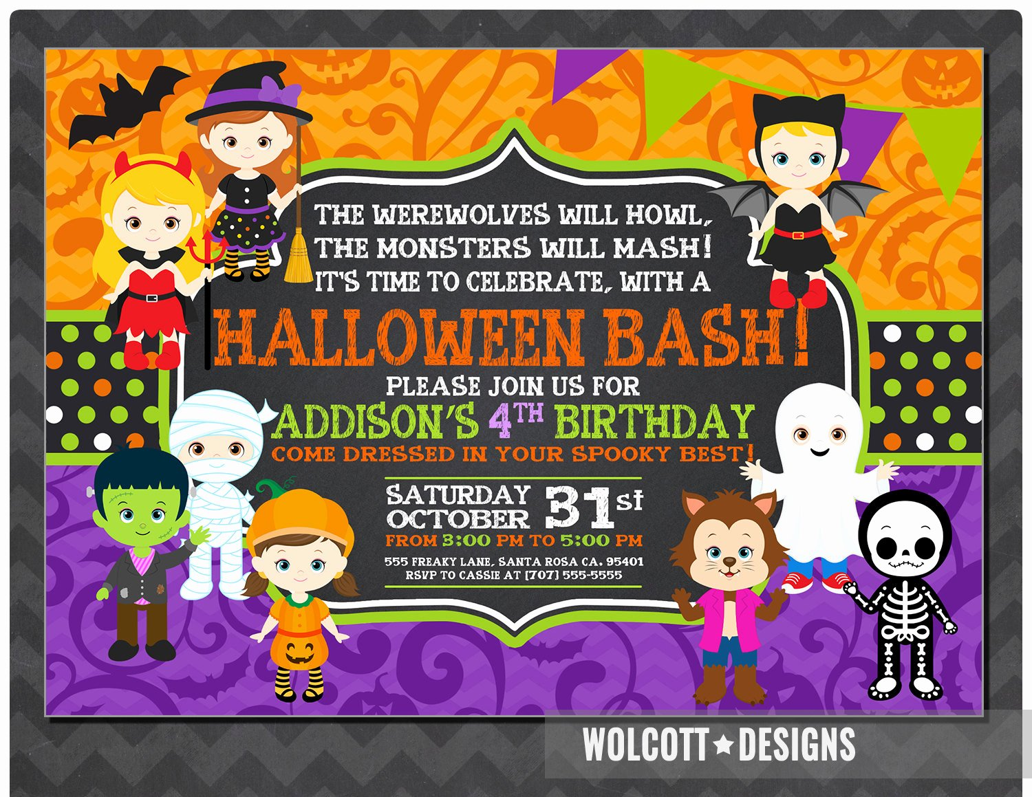 Halloween Birthday Party Invitations Best Of Girls Halloween Party Invitation Kids Halloween Party