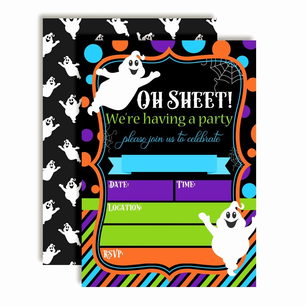 Halloween Birthday Party Invitations Best Of Oh Sheet Funny Ghost Halloween Birthday Party Invitations