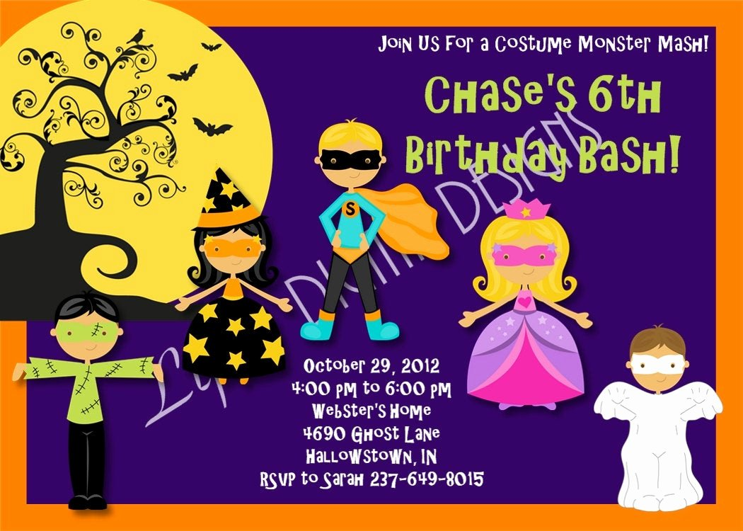 Halloween Birthday Party Invitations Elegant Halloween Birthday Party Invitations by Lifesdigitaldesigns
