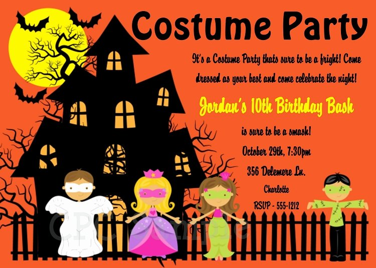 Halloween Birthday Party Invitations Elegant Halloween Costume Party Invitations Printable or Printed