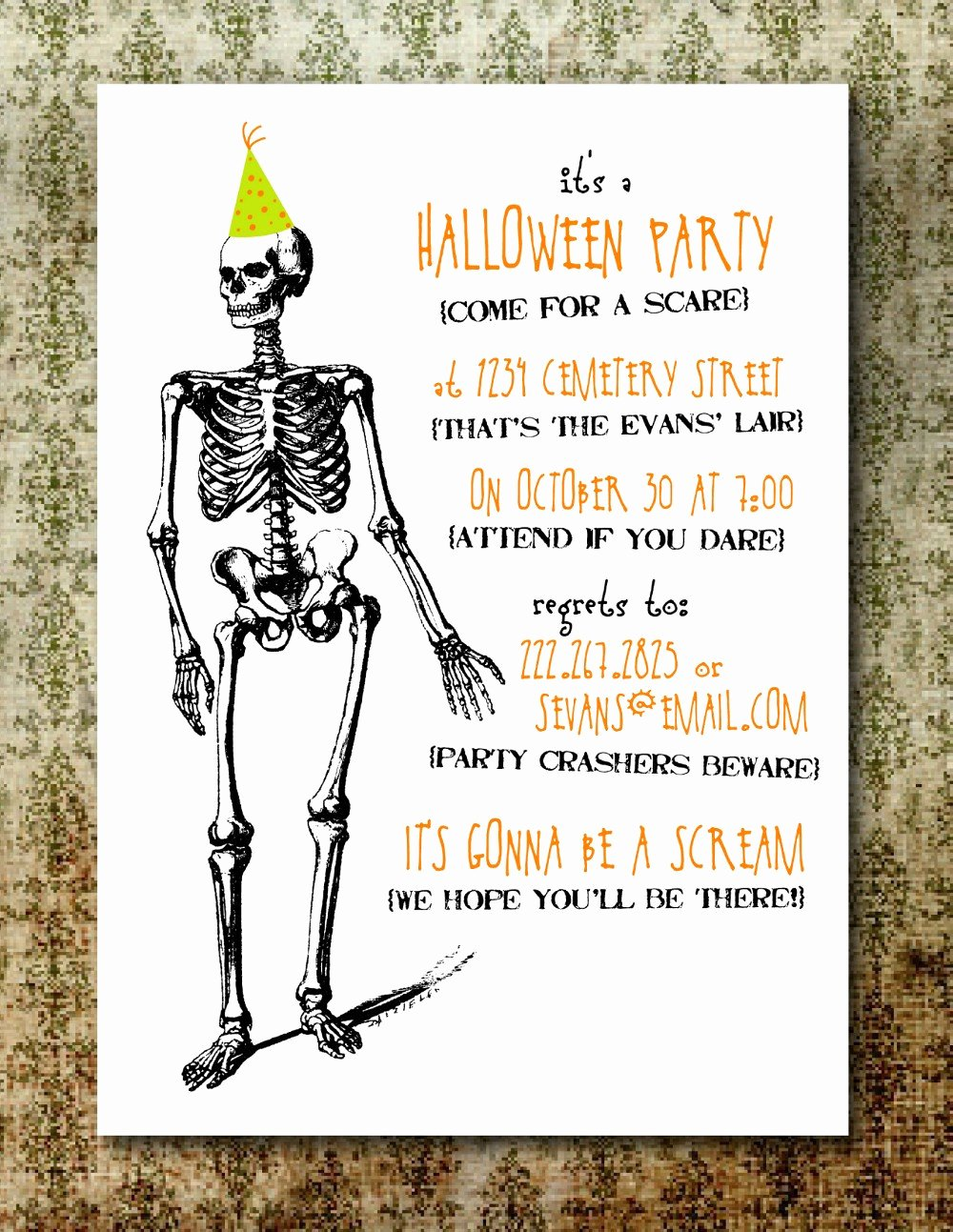 Halloween Birthday Party Invitations Elegant Printable Spooky Halloween Party Invitation