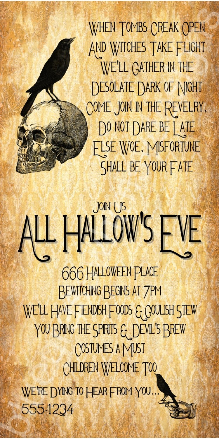 Halloween Birthday Party Invitations Inspirational All Hallow S Eve Halloween Party Invitation 4x8 5x7 4x6