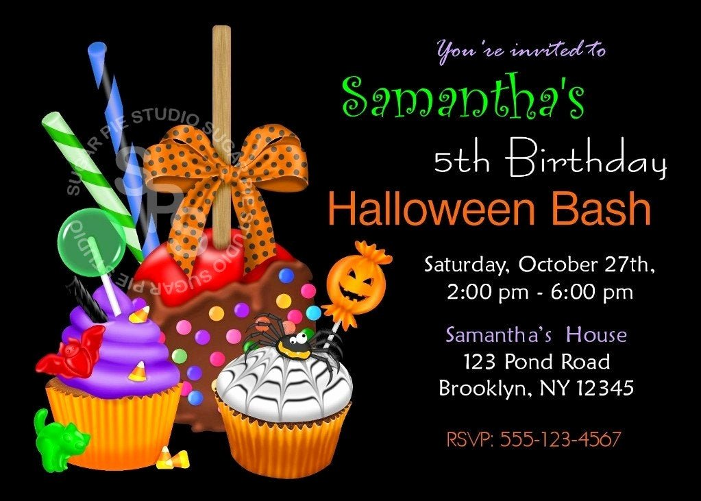 Halloween Birthday Party Invitations Inspirational Printable Halloween Birthday Party Invitation Custom