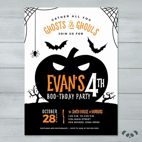 Halloween Birthday Party Invitations Lovely Halloween Birthday Party Invitation Pumpkin Spooky