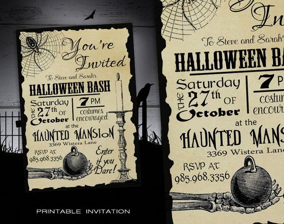 Halloween Birthday Party Invitations Luxury Halloween Party Invitation Adult Diy Halloween Invitations