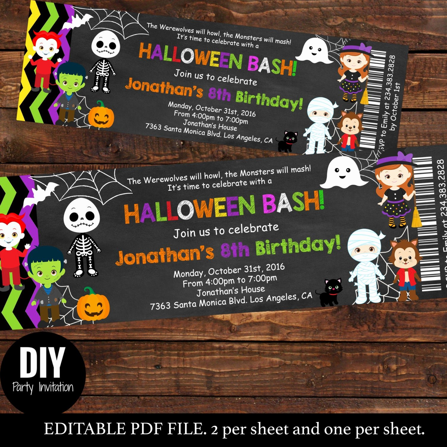 Halloween Birthday Party Invitations Luxury Halloween Ticket Birthday Invitations Kids Party Halloween