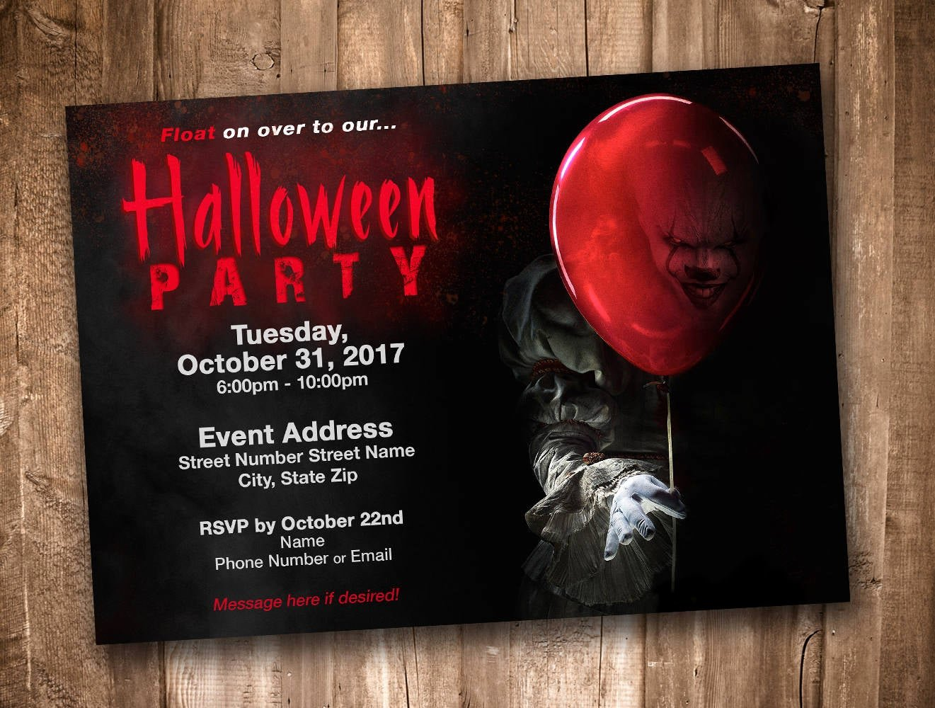Halloween Birthday Party Invitations New Pennywise Clown Adult Halloween Party Invitation Personalized