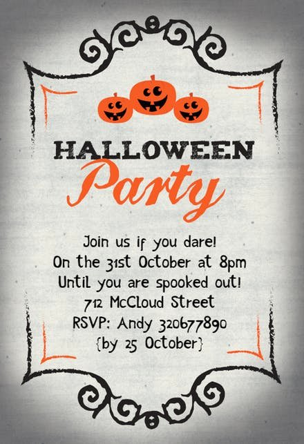 Halloween Party Invitation Template Inspirational Halloween Party Invitation Templates Free