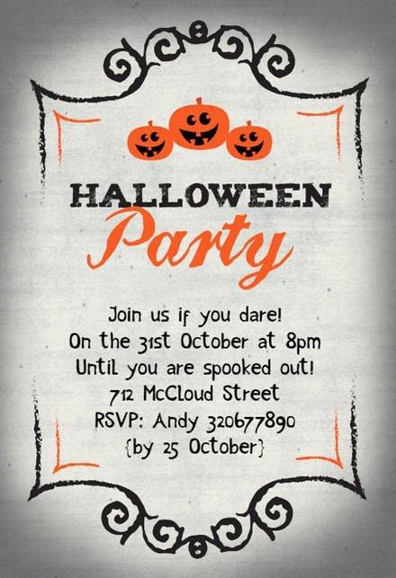 Halloween Party Invitation Template Inspirational Halloween Party Invitation Templates Free