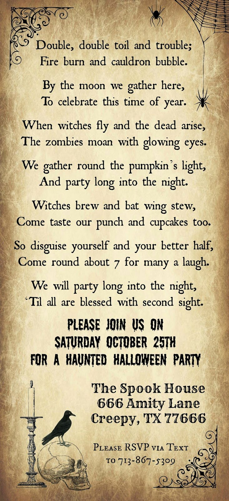 Halloween Party Invitation Template Lovely Crafty In Crosby Halloween Party Invitation 2014