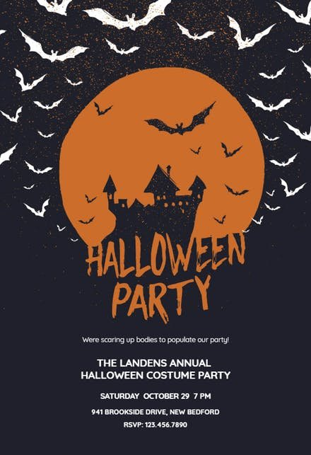 Halloween Party Invitation Template Unique Haunted House Halloween Party Invitation Template Free