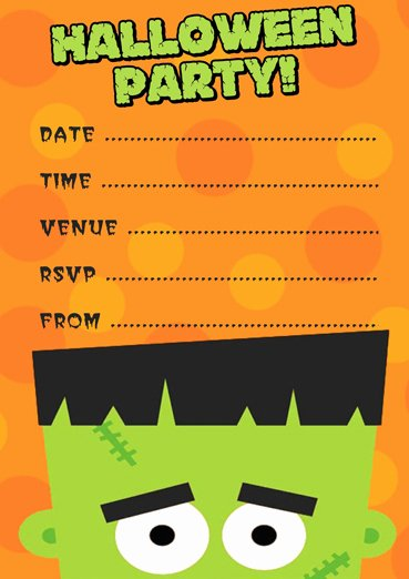 Halloween Party Invitations Template Awesome Free Frankenstein Halloween Party Invitation Template
