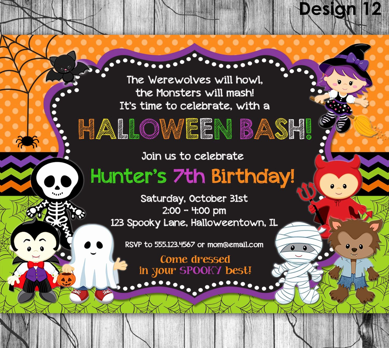 Halloween Party Invitations Template Beautiful Halloween Birthday Invitation Printable Kids Halloween Party