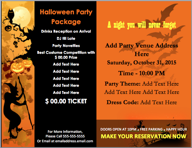 Halloween Party Invitations Template Elegant Halloween Party Invitation Template – Microsoft Word Templates