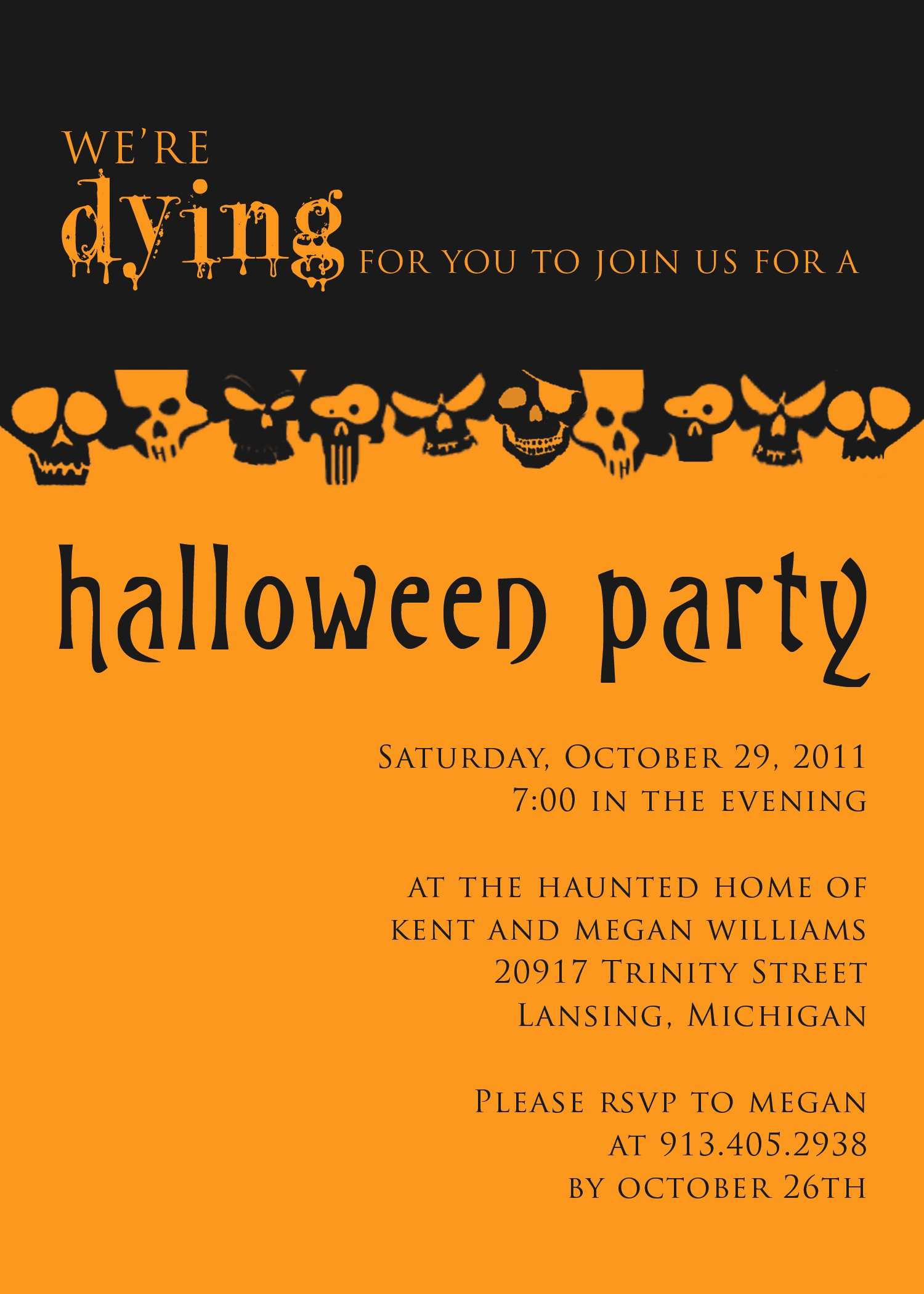 Halloween Party Invitations Template Elegant Halloween Party Invitation Templates Free – Festival