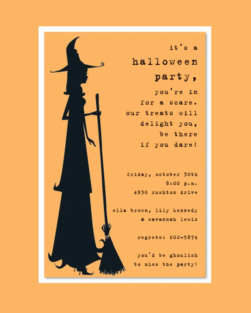 Halloween Party Invitations Template Elegant Scary Silhoutte Witch Halloween Party Invitation Template