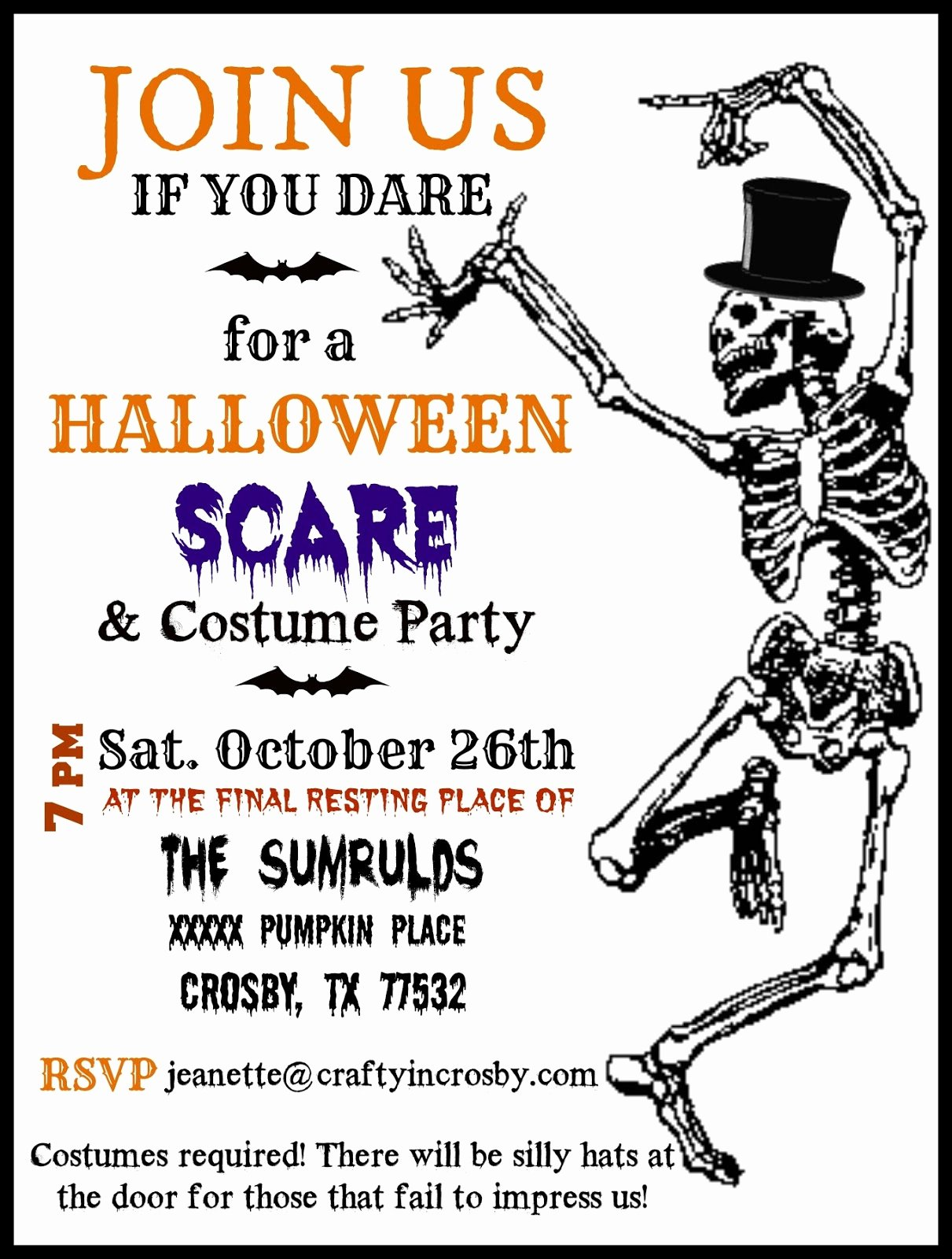 Halloween Party Invitations Template Luxury Crafty In Crosby Halloween Party Invitations with Template