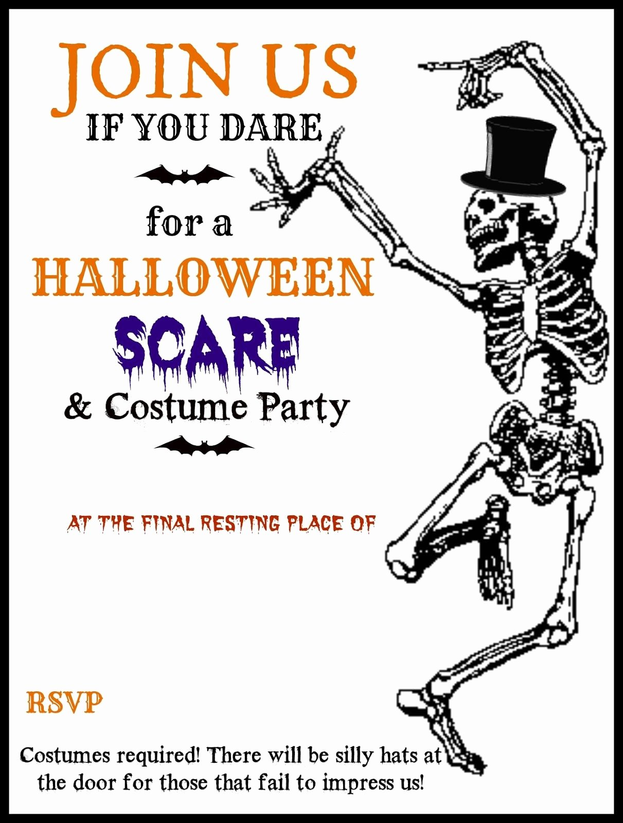 Halloween Party Invitations Template Luxury Halloween Printable Skeleton Invite Diy Halloween