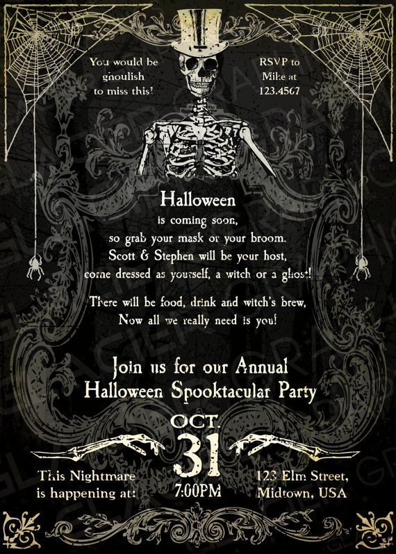 Halloween Party Invitations Template New Halloween Invitation Wording Adults Ly – Festival