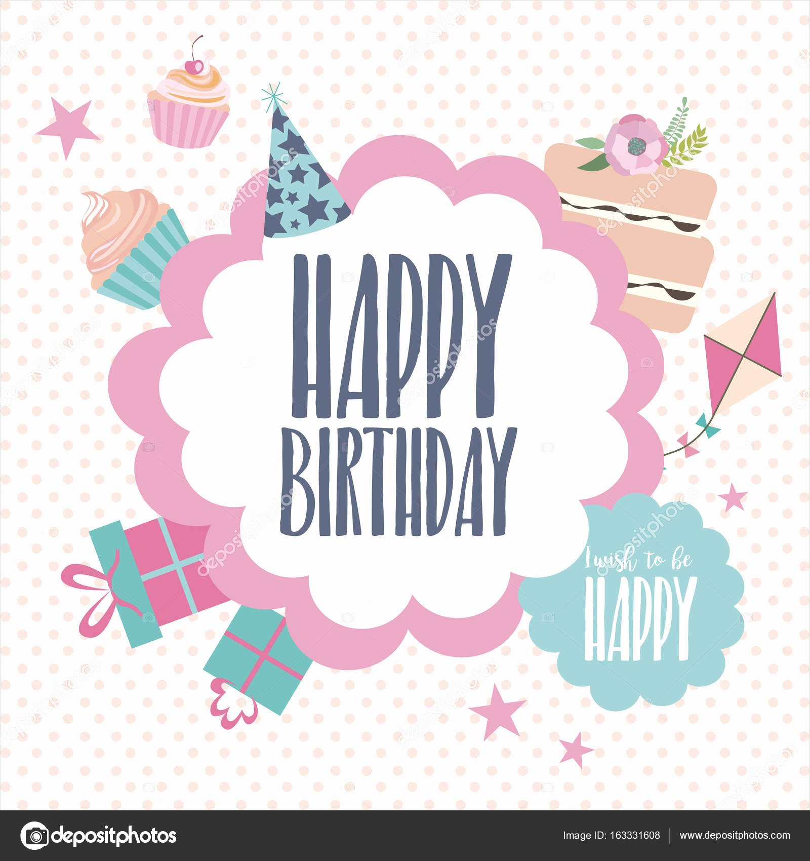 Happy Birthday Card Template Awesome Cute Happy Birthday Card Template — Stock Vector © Vissay