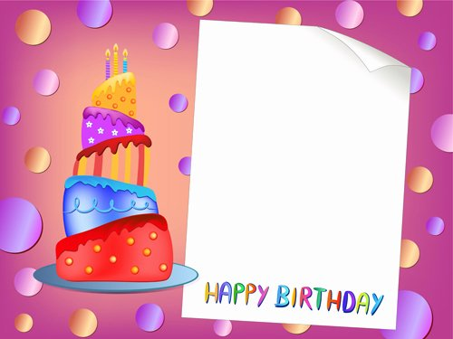 Happy Birthday Card Template Elegant Blank Paper with Birthday Card Vector 01 Free