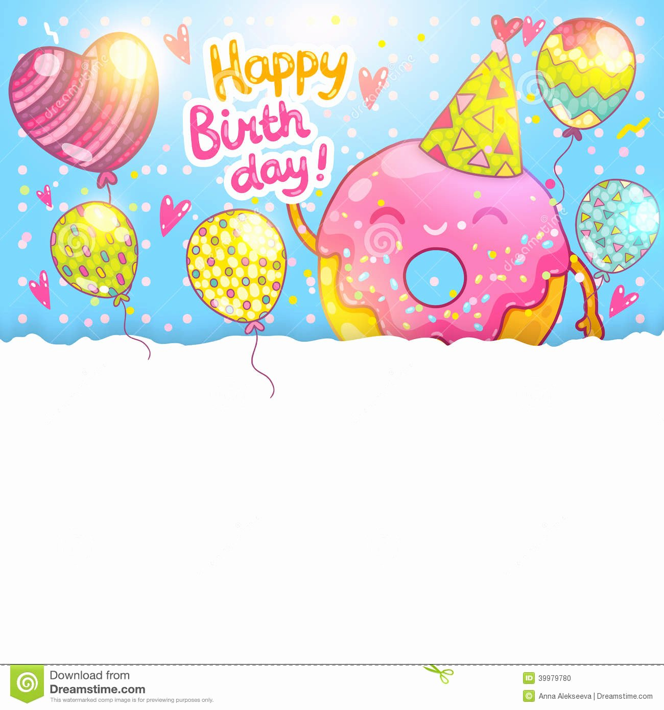 Happy Birthday Card Template Lovely Happy Birthday Card Background with Cute Donut Stock