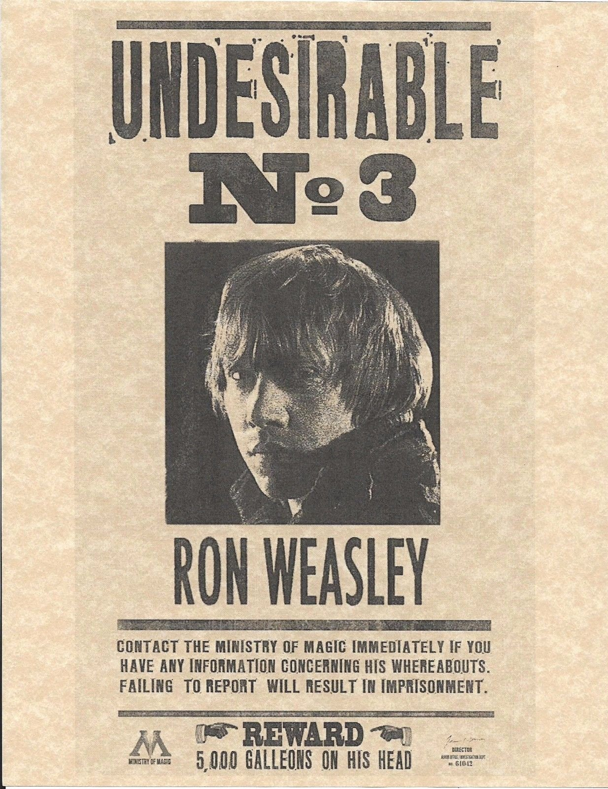 Harry Potter Wanted Poster New Harry Potter Undesirable Number 3 Ron Weasley Wanted Flyer
