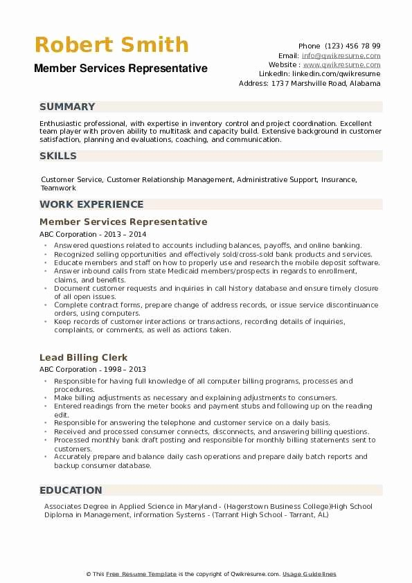 High School Diploma On Resume Inspirational Member Services Representative Resume Samples