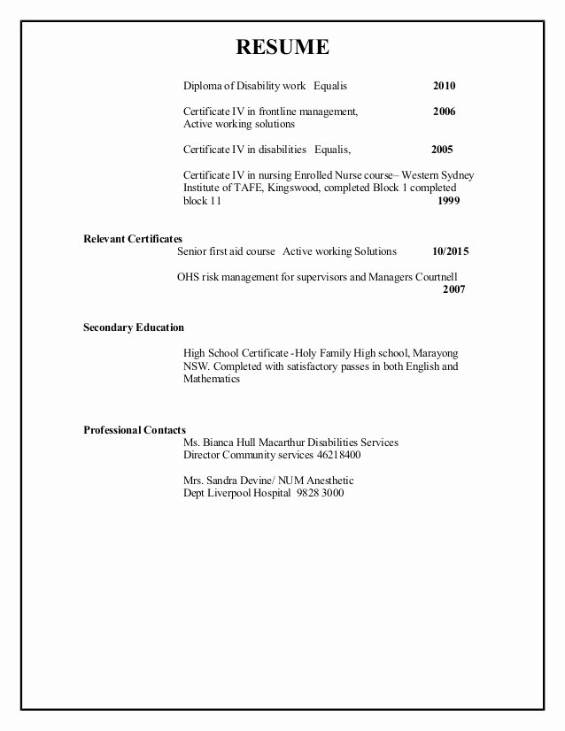 High School Diploma On Resume Unique Resume