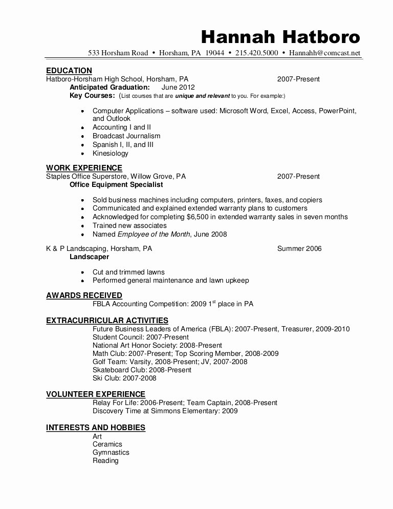 High School Diploma On Resume Unique Resume Sample Hannah Hatboro 0411