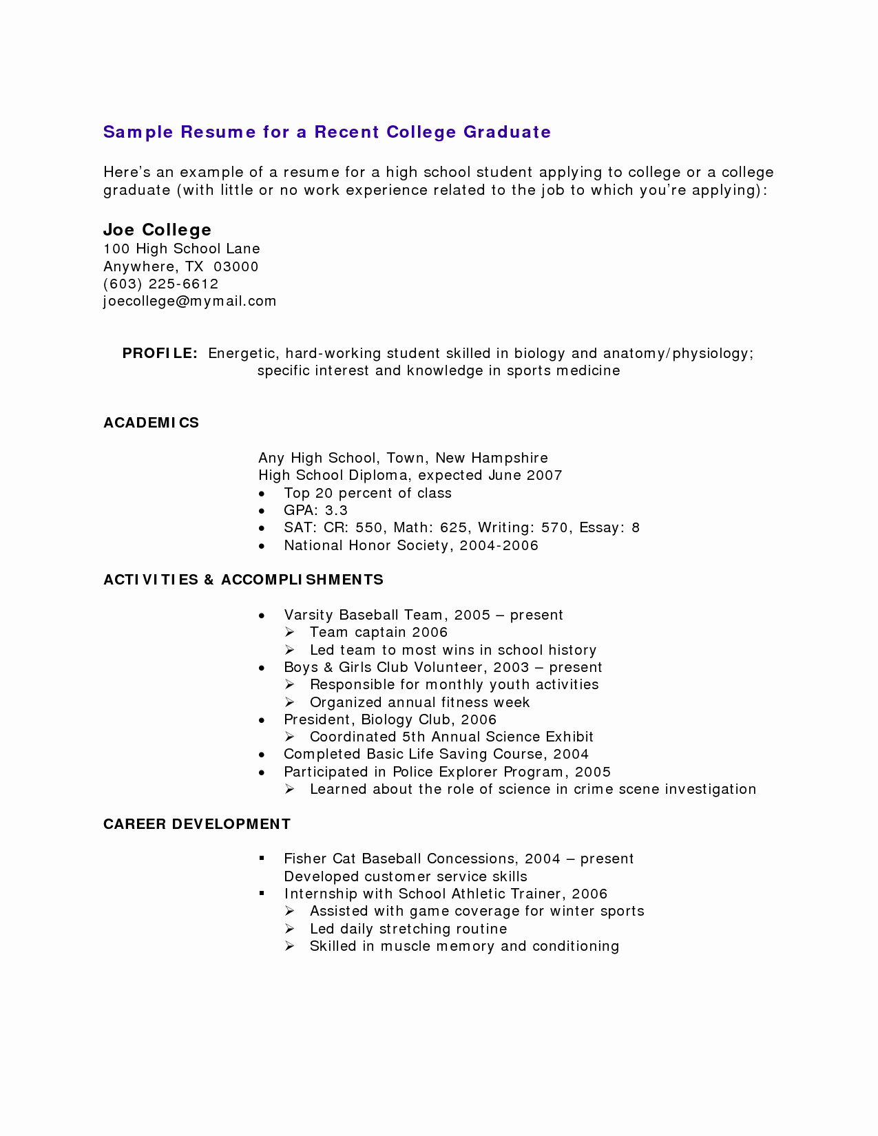 High School Job Resume Awesome Resumes Templates for Students with No Experience
