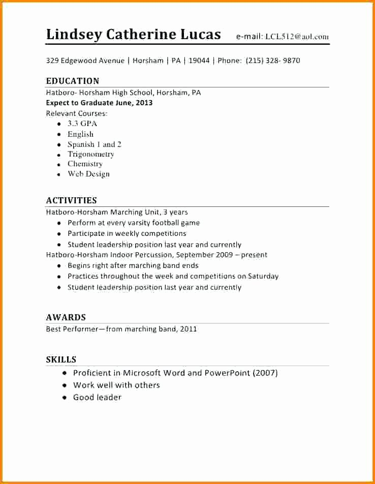 High School Job Resume Elegant Puters & Business – 2 04 19