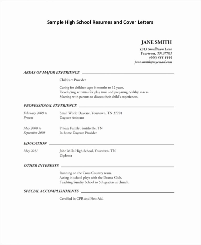 High School Job Resume Fresh High School Resume Template Download