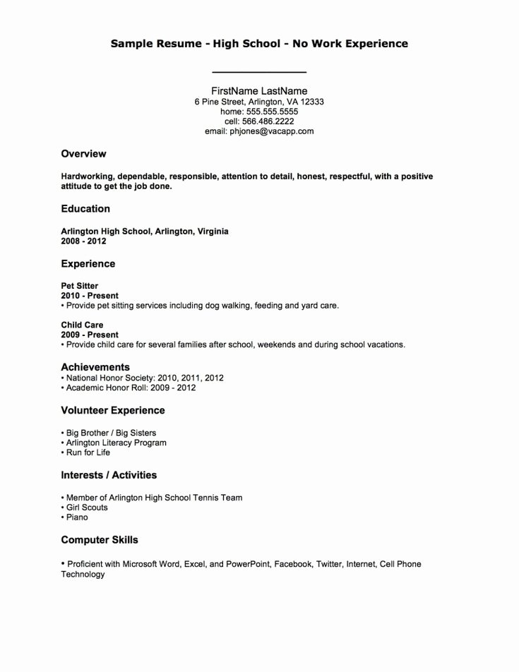 High School Job Resume Unique 25 Best Ideas About High School Resume On Pinterest