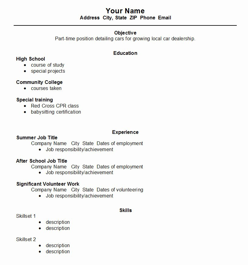 High School Job Resume Unique High School Student Resume Template ← Open Resume Templates