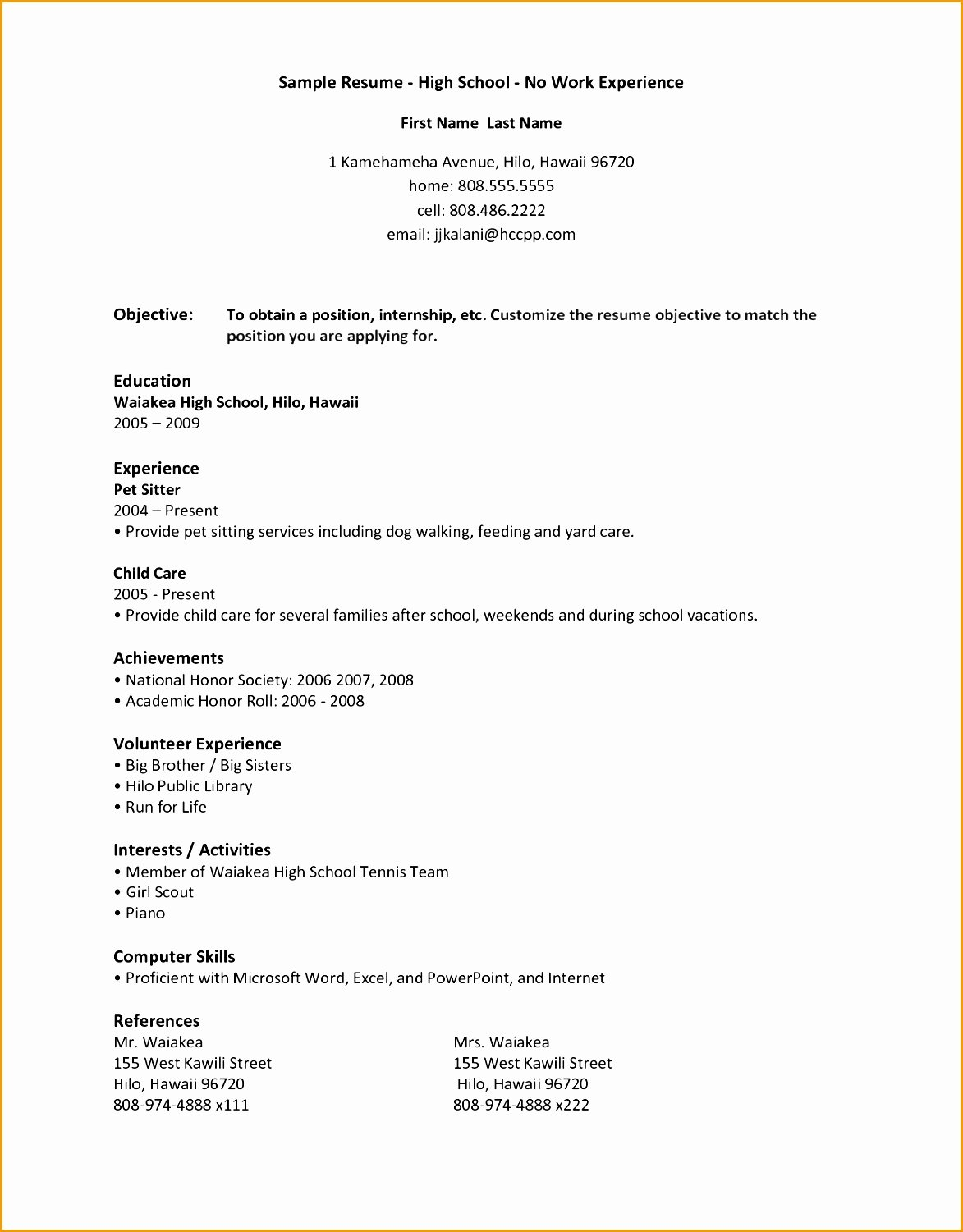 High School Resume Builder Elegant 8 Resume Sample for High School Students with No