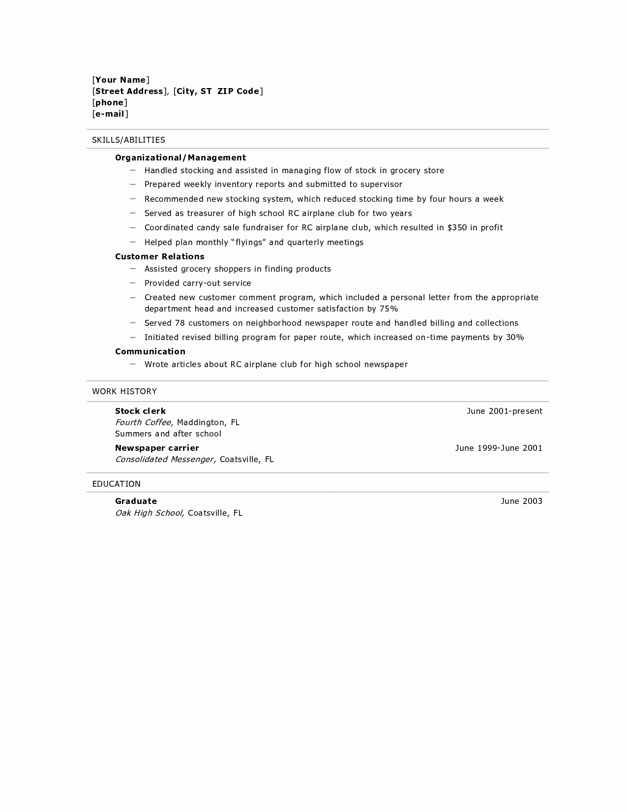 High School Resume Builder Luxury Resume for High School Graduate Resume Builder Resume