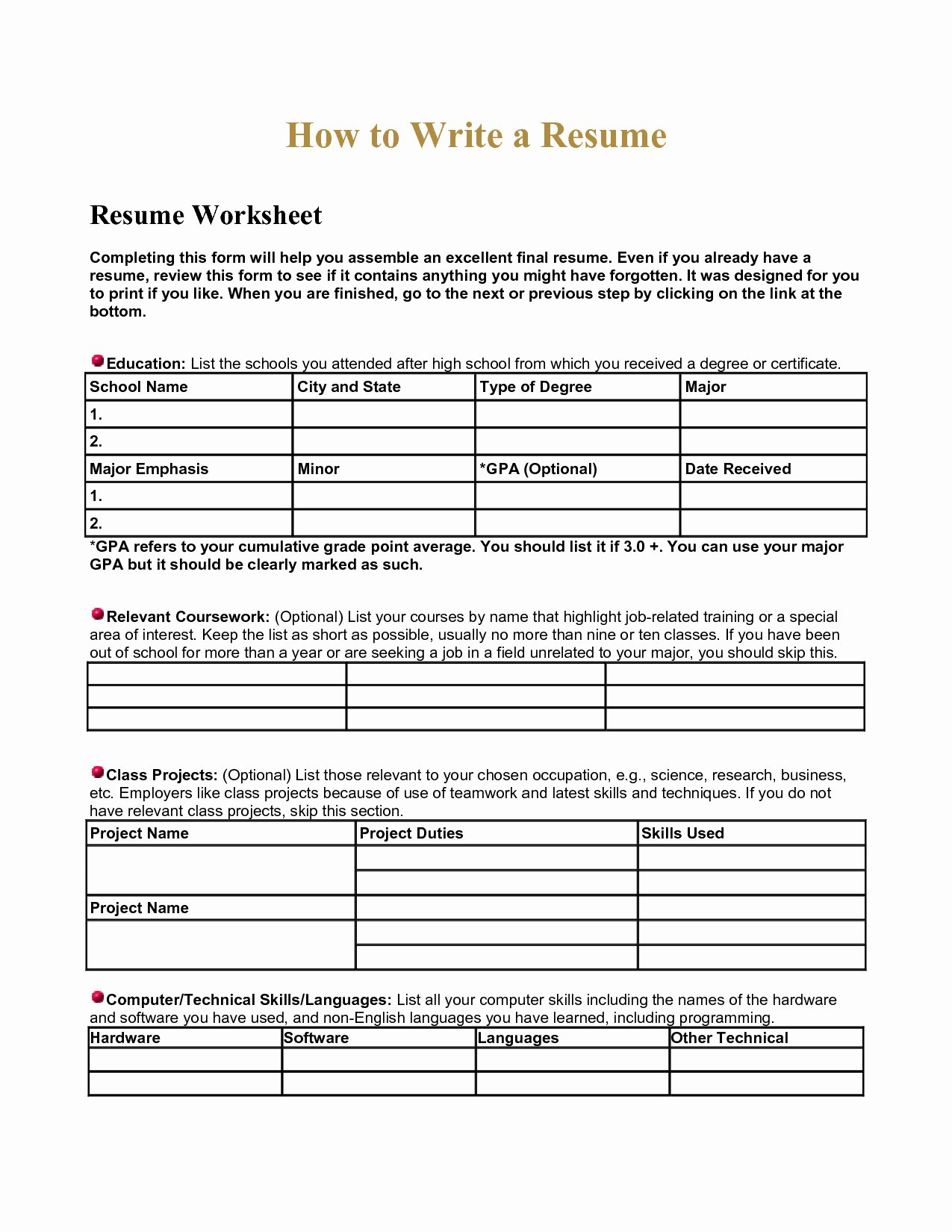 High School Resume Builder Unique Spreadsheet Class for Worksheets for Puter Class and