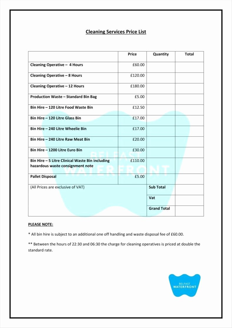 Home Cleaning Services Price List Awesome 9 Service Price List Templates Free Samples Examples