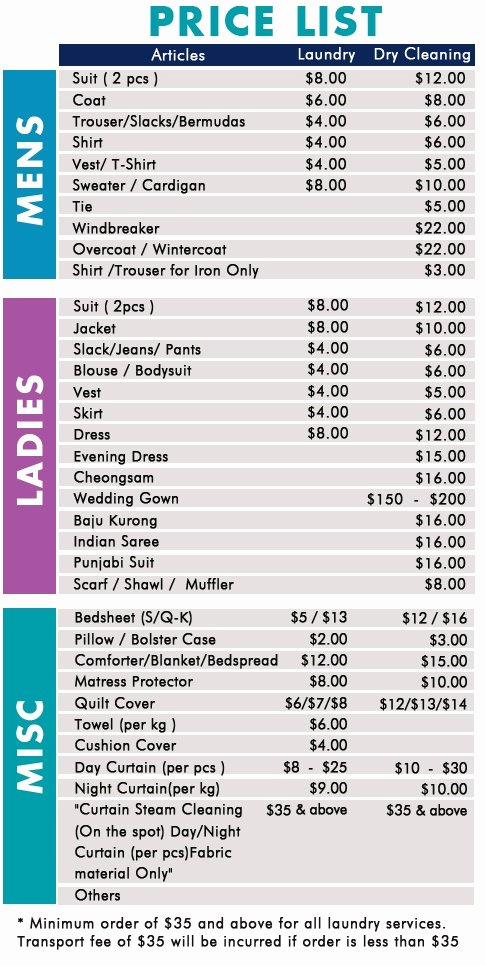 Home Cleaning Services Price List Elegant Singapore Dry Cleaning™ Dry Cleaning & Laundry Pricelist