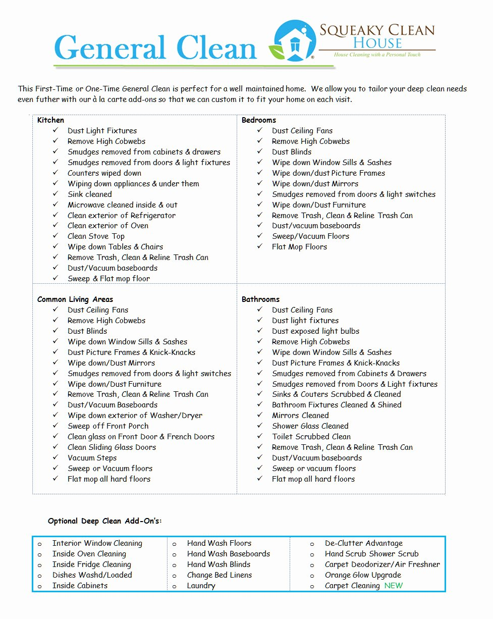 Home Cleaning Services Price List Inspirational General Cleaning Services – Squeaky Clean House Cleaning
