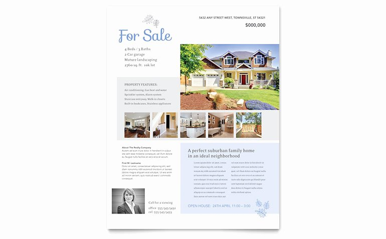 Home for Sale Flyer Fresh Real Estate Listing Flyer Template Word & Publisher