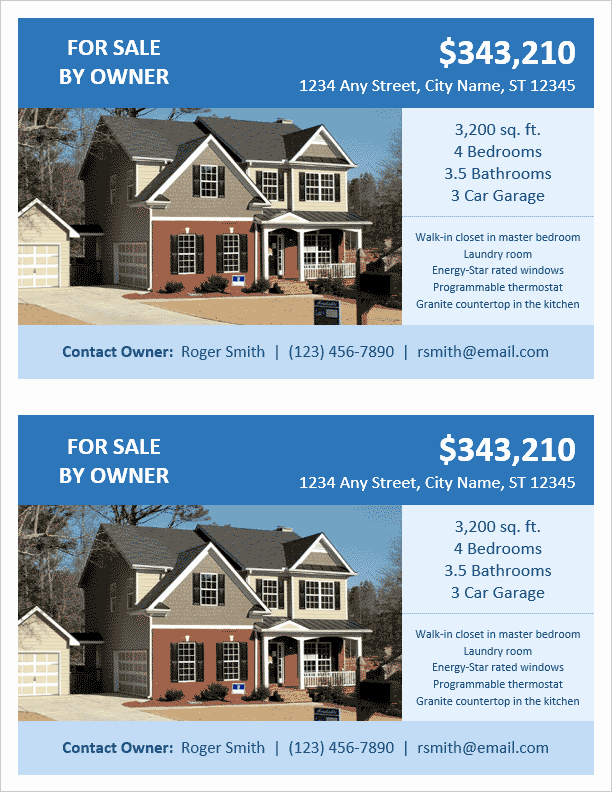 Home for Sale Flyer Inspirational Fsbo Flyer Template for Word