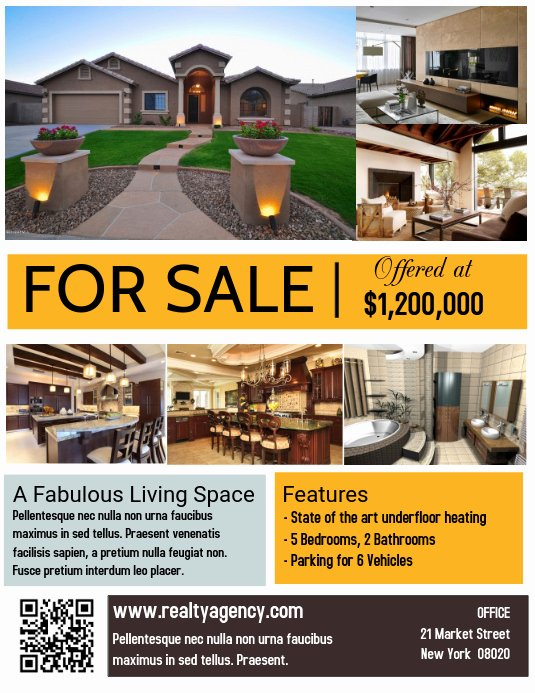 Home for Sale Flyer Luxury Real Estate House for Sale Poster Flyer Template