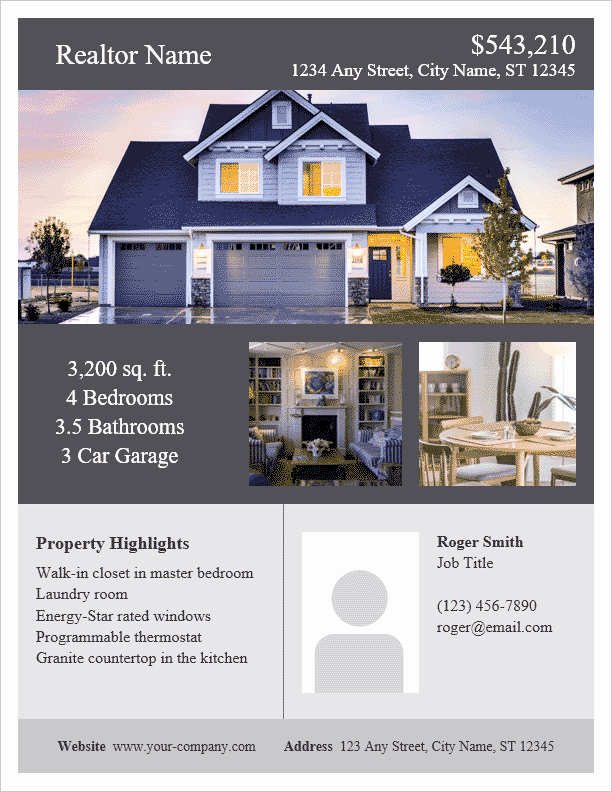 Home for Sale Flyer New Real Estate Flyer Template for Word