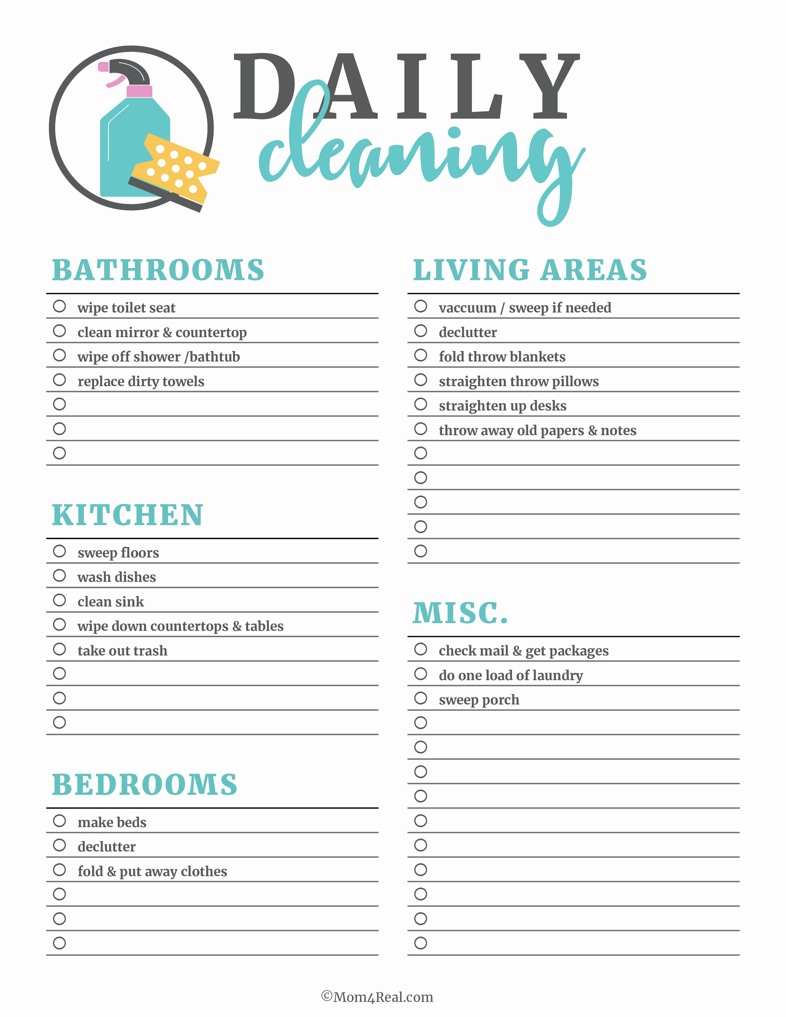 House Cleaning Checklist Template Best Of Printable Cleaning Checklists for Daily Weekly and
